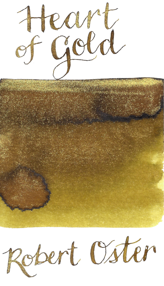 Robert Oster Heart of Gold from the Shake 'N' Shimmy collection is a gorgeous golden yellow fountain pen ink with gold shimmer.