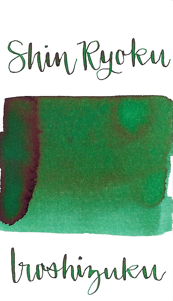 Pilot Iroshizuku Shin-Ryoku, aka Forest Green, is a medium green fountain pen ink with some shading.