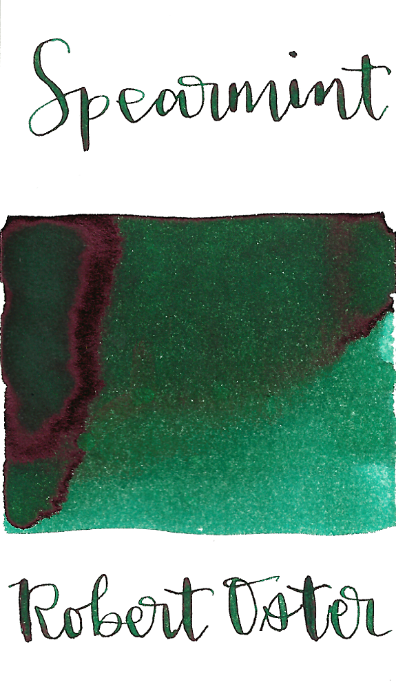 Robert Oster Spearmint is a dark green fountain pen ink with medium shading and medium pink sheen.