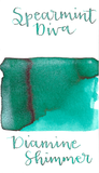 Diamine Spearmint Diva from the 2017 Shimmertastic collection is a gorgeous medium teal fountain pen ink with medium shading and silver shimmer.