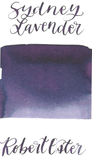 Robert Oster Sydney Lavender is a dark purple fountain pen ink with medium shading.