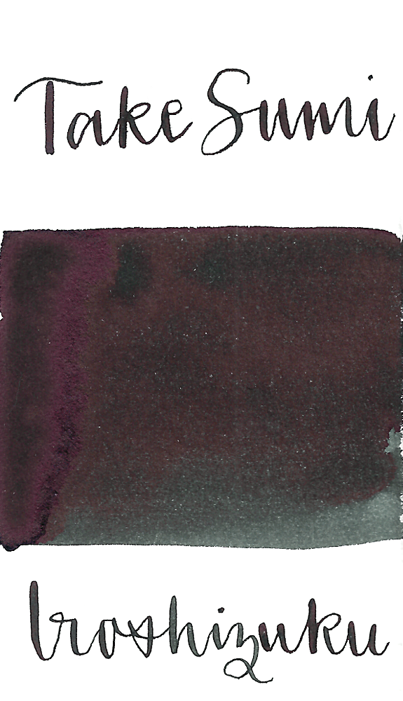 Pilot Iroshizuku Take-Sumi, aka Bamboo Charcoal, is a saturated black fountain pen ink with some sheen.