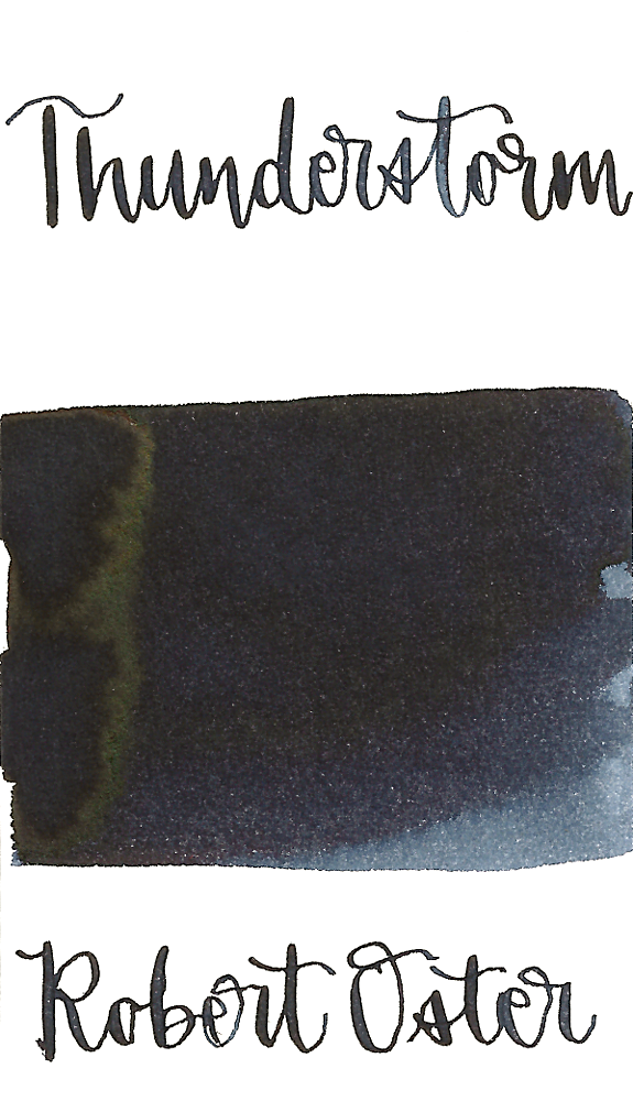Robert Oster Thunderstorm is a dark blue black fountain pen ink with medium shading and low bronze sheen.