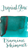 Diamine Tropical Glow from the 2015 Shimmertastic collection is a medium turquoise fountain pen ink with low shading, some red sheen, and silver shimmer.