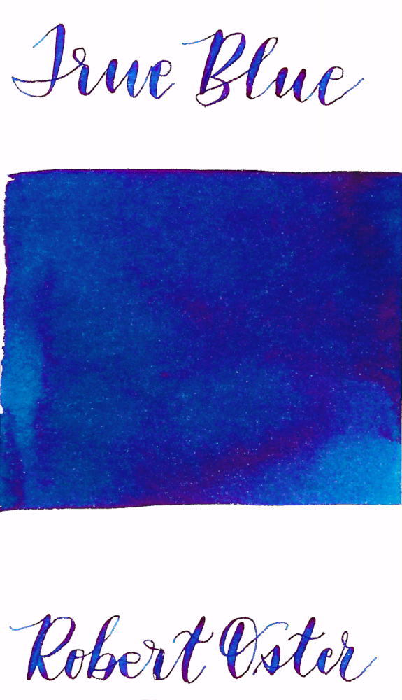 Robert Oster True Blue is a dark blue fountain pen ink with medium shading and medium pink sheen.
