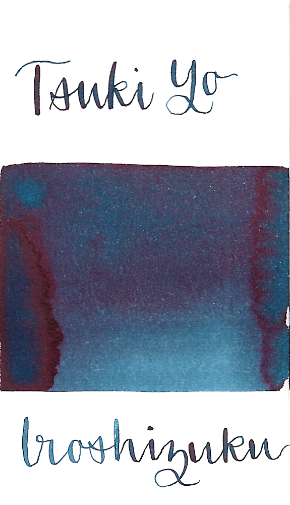 Pilot Iroshizuku Tsuki-Yo, aka Moonlight, is a dark blue fountain pen ink with some sheen.
