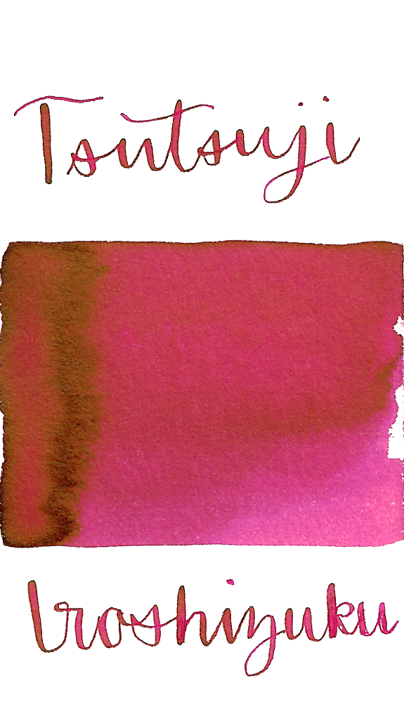 Pilot Iroshizuku Tsutsuji, aka Azalea, is a vibrant pink fountain pen ink with some shading and sheen.