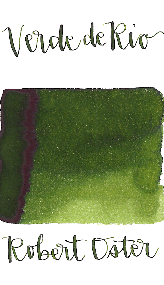 Robert Oster Verde de Rio is a medium avocado green fountain pen ink with medium shading and a pop of brown sheen in large swabs.