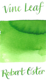 Robert Oster Vine Leaf is a bright spring green fountain pen ink with medium shading.