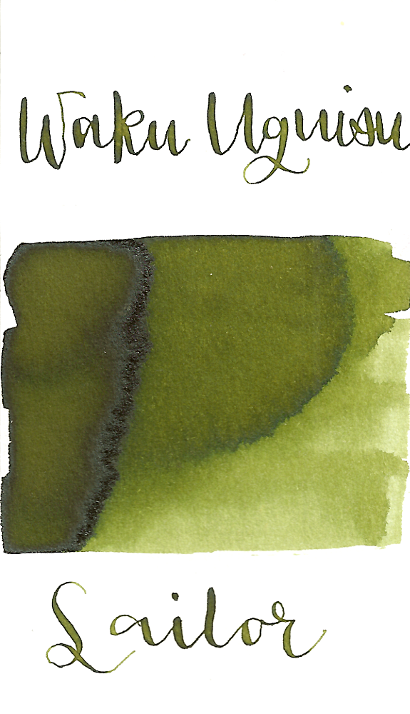 Sailor Jentle Waka-Uguisu, aka Young Nightingale, from the 2016 Four Seasons collection is a dark pea green fountain pen ink with medium shading.