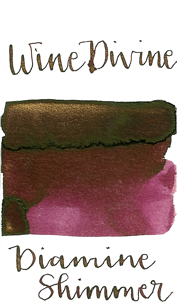 Diamine Wine Divine from the 2017 Shimmertastic collection is a dark burgundy red fountain pen ink with medium shading, low green sheen, and gold shimmer.