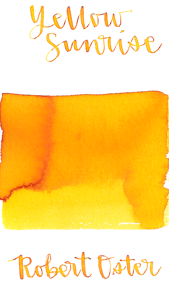 Robert Oster Yellow Sunrise is a bright sunny yellow fountain pen ink with medium shading.