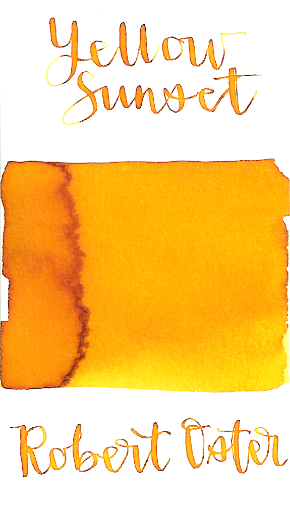 Robert Oster Yellow Sunset is a bright sunny yellow fountain pen ink with medium shading.