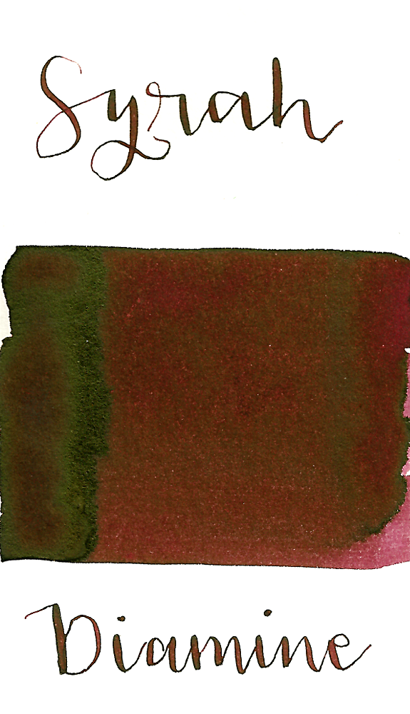 Diamine Syrah is a dark burgundy red fountain pen ink with low shading and low green sheen.