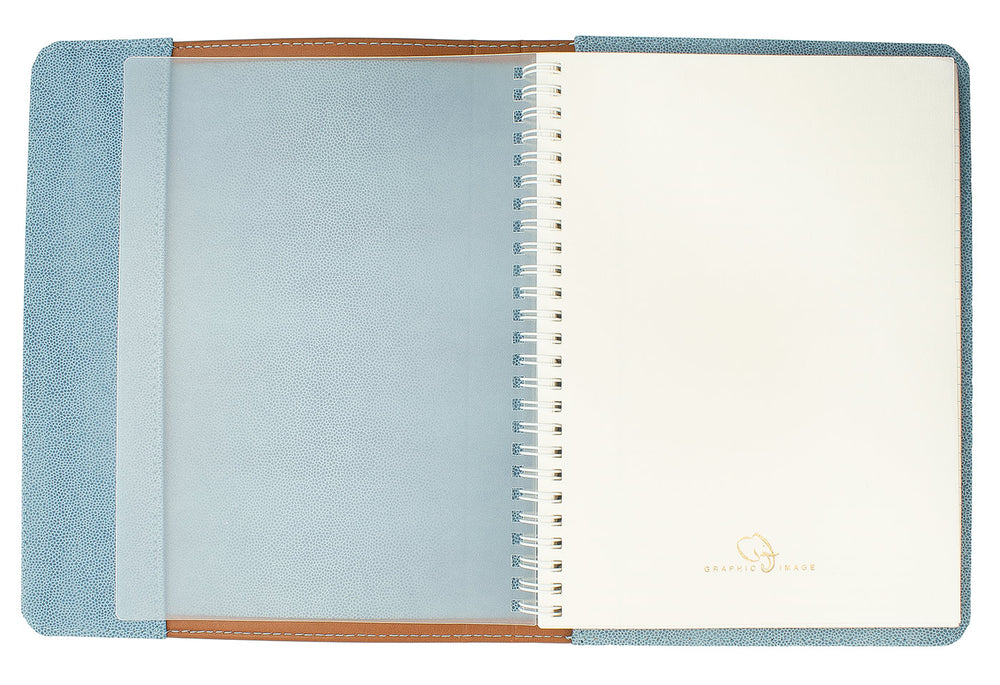 Graphic Image Tan Leather Spiral Journal, Light Blue Interior