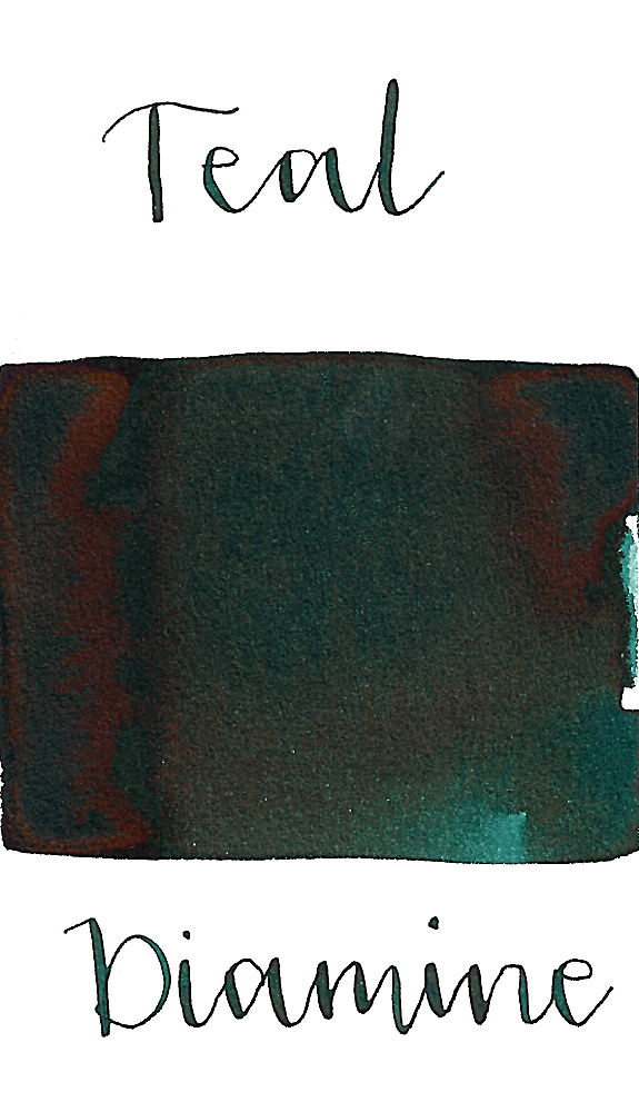Diamine Teal is a gorgeous, saturated dark teal fountain pen ink with low shading.
