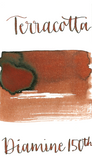 Diamine Terracotta is a warm, red brown fountain pen ink with medium shading.