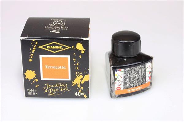 Diamine Terracotta fountain pen ink is available in a triangular shaped 40ml bottle.