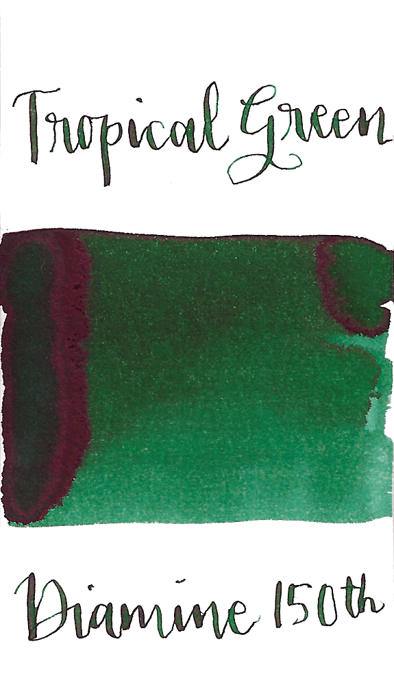 Diamine Tropical Green is a dark green fountain pen ink with medium shading.