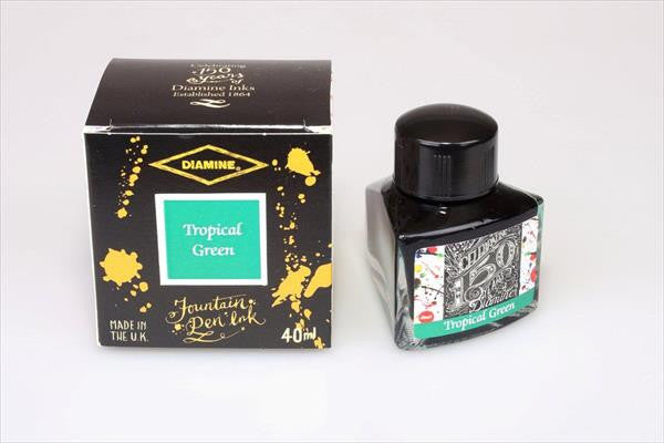 Diamine Tropical Green fountain pen ink is available in a triangular shaped 40ml bottle.