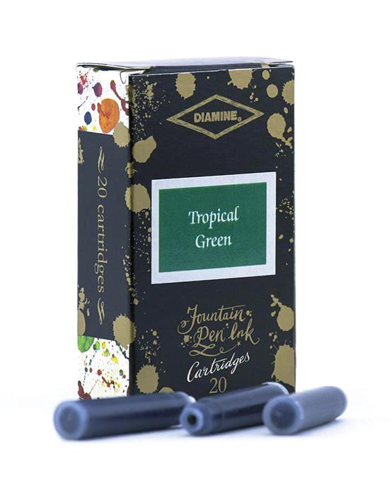Diamine Tropical Green fountain pen ink is available in a pack of 20 standard international cartridges