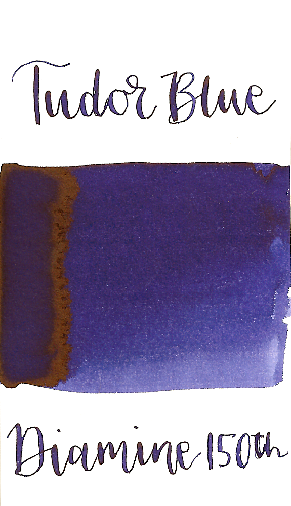 Diamine Tudor Blue is a dark blue fountain pen ink with medium shading.