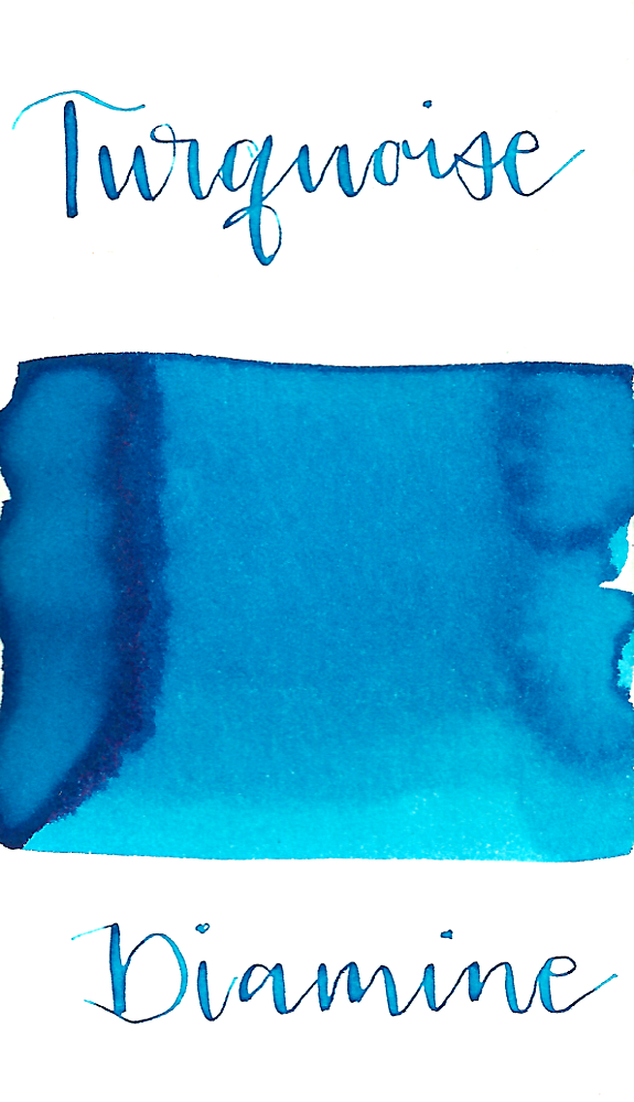 Diamine Turquoise is a bright summer turquoise-blue fountain pen ink with low shading and a pop of copper sheen in large swabs.