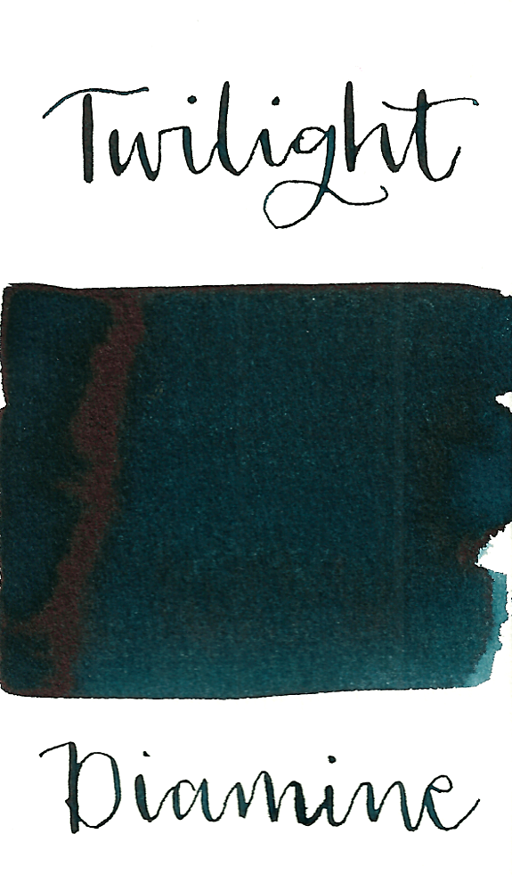 Diamine Twilight is a dark moody blue black fountain pen ink with medium shading and a pop of pink sheen in large swabs.