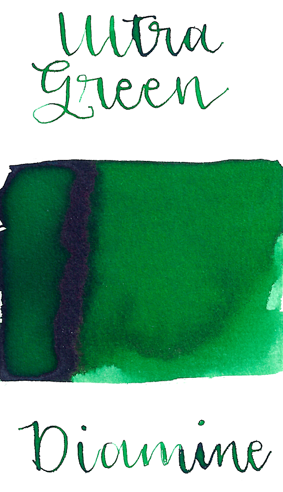 Diamine Ultra Green is a dark green fountain pen ink with medium shading.