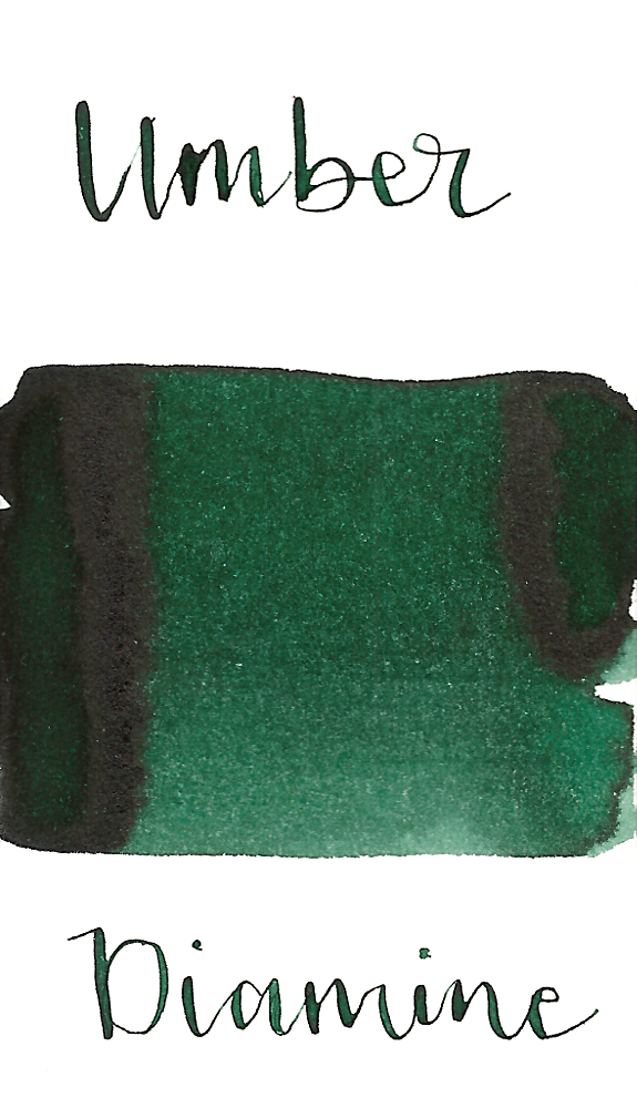 Diamine Green Umber is a dark green fountain pen ink with low shading.