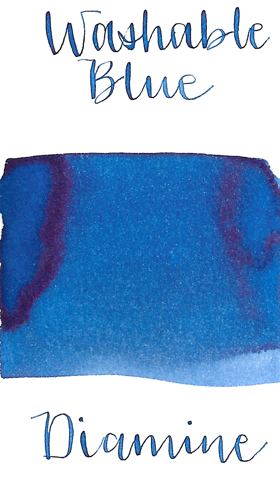Diamine Washable Blue is a medium soft blue fountain pen ink with low shading and a pop of pink sheen in large swabs.