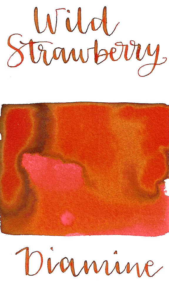 Diamine Wild Strawberry is a bright summery red fountain pen ink with low shading and a pop of gold sheen in large swabs.
