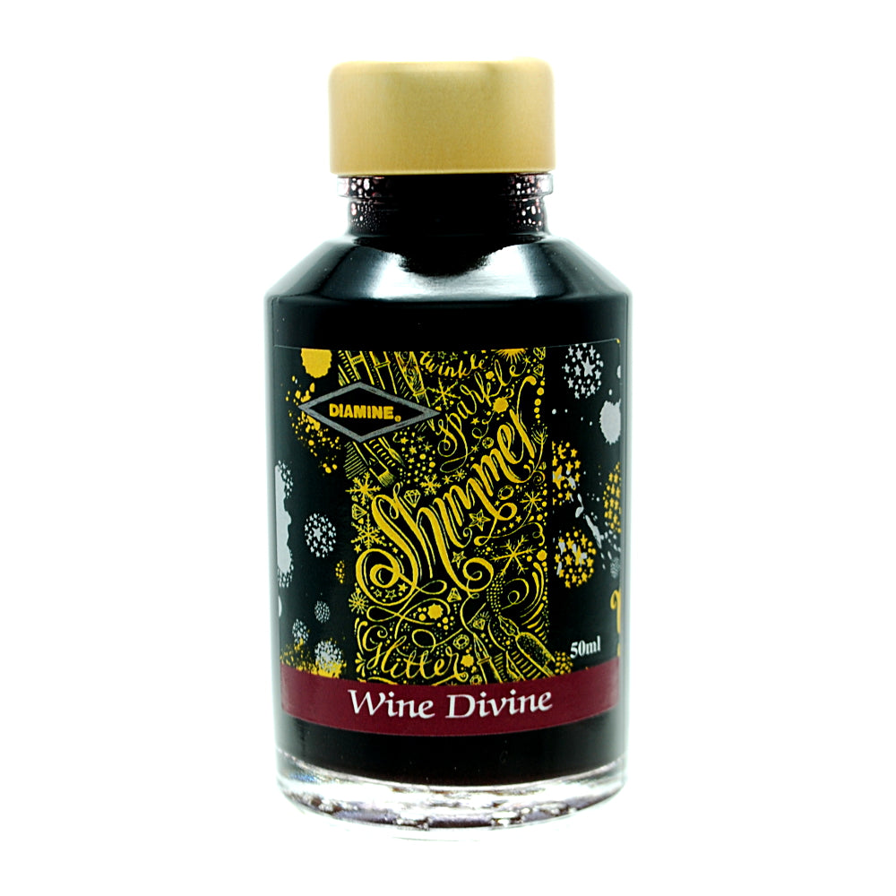 Diamine Shimmertastic Wine Divine fountain pen ink is available in a 50ml glass bottle.