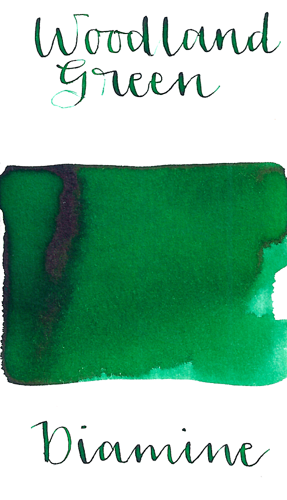 Diamine Woodland Green is a bright medium green fountain pen ink with medium shading and a pop of red sheen in large swabs.