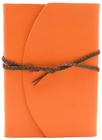 Curnow Bookbinding Wrap-around Orange Leather Journal