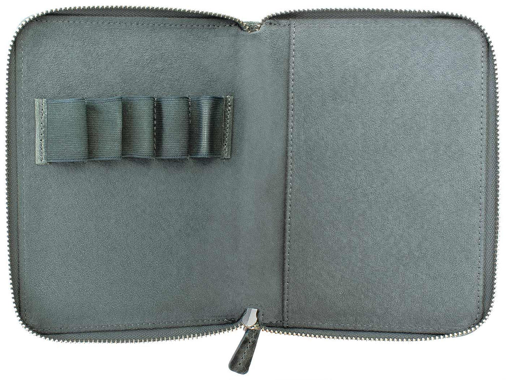 Galen Leather Co. Zippered 5 Slot Pen Case- Crazy Horse Smoky