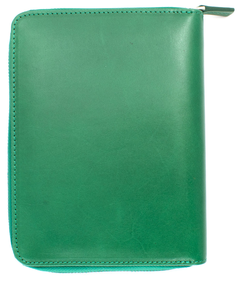 Galen Leather Co. Zippered 5 Slot Pen Case- Green