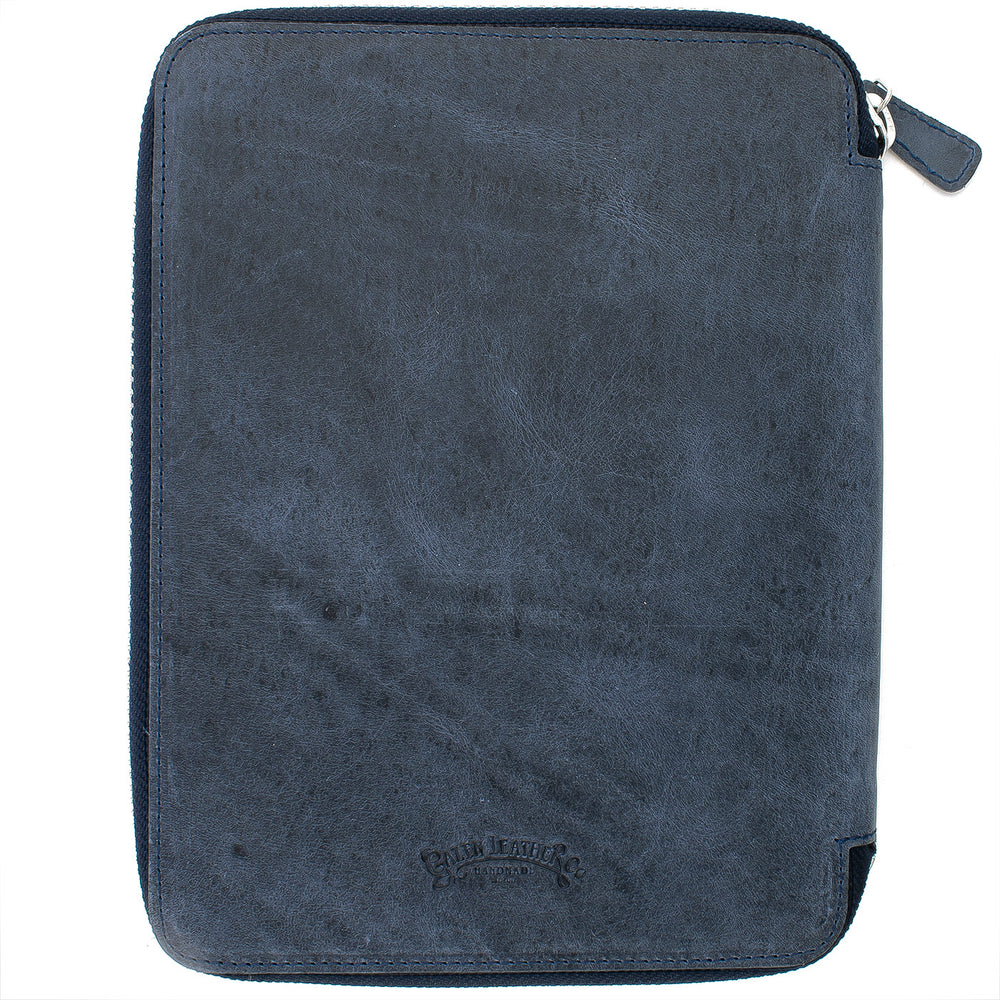 Galen Leather Co. Zippered A5 Notebook Folio- Crazy Horse Navy Blue