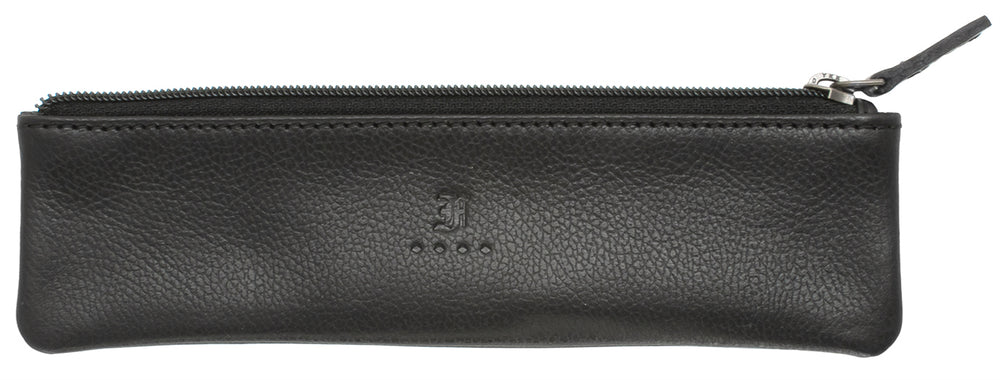 Franklin Christoph Zippered Single Pen Pouch - Napa Black Leather