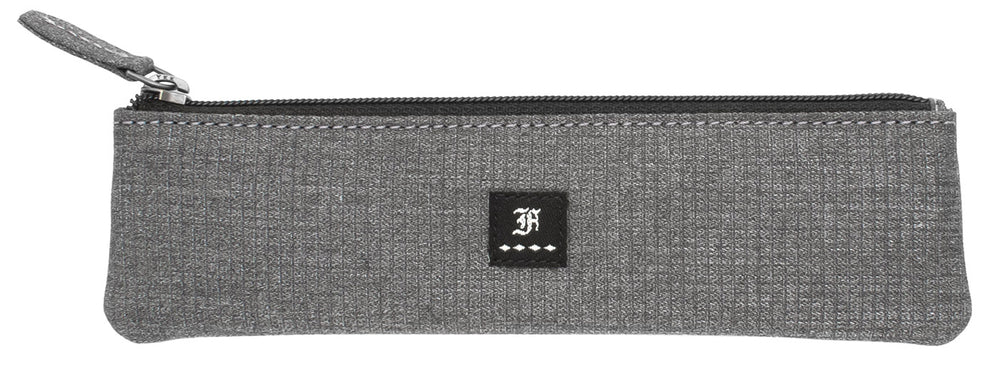 Franklin Christoph Zippered Single Pen Pouch - Suit Grey Fabric