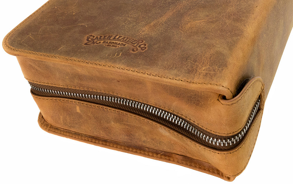 Galen Leather Co. Zippered 40 Slot Pen Case- Crazy Horse Brown