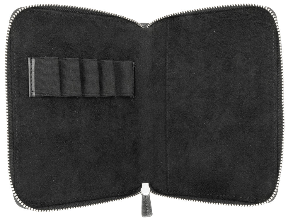 Galen Leather Co. Zippered 5 Slot Pen Case- Black