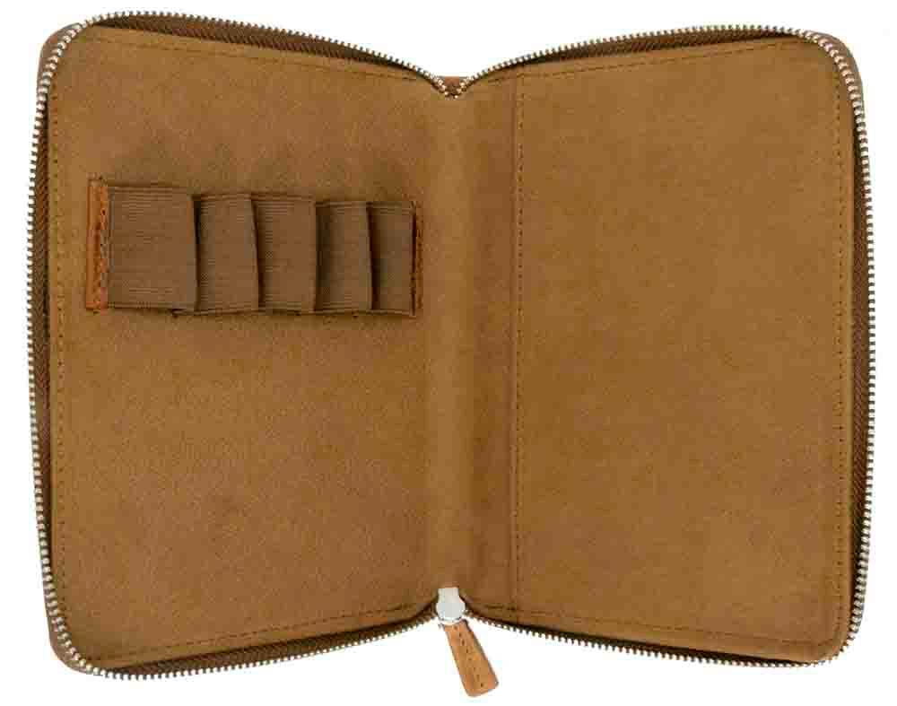 Galen Leather Co. Zippered 5 Slot Pen Case- Crazy Horse Brown