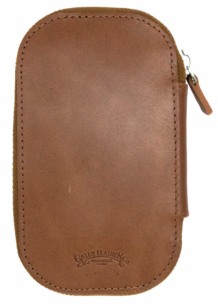 Galen Leather Co. Zippered 6 Slot Pen Case- Brown