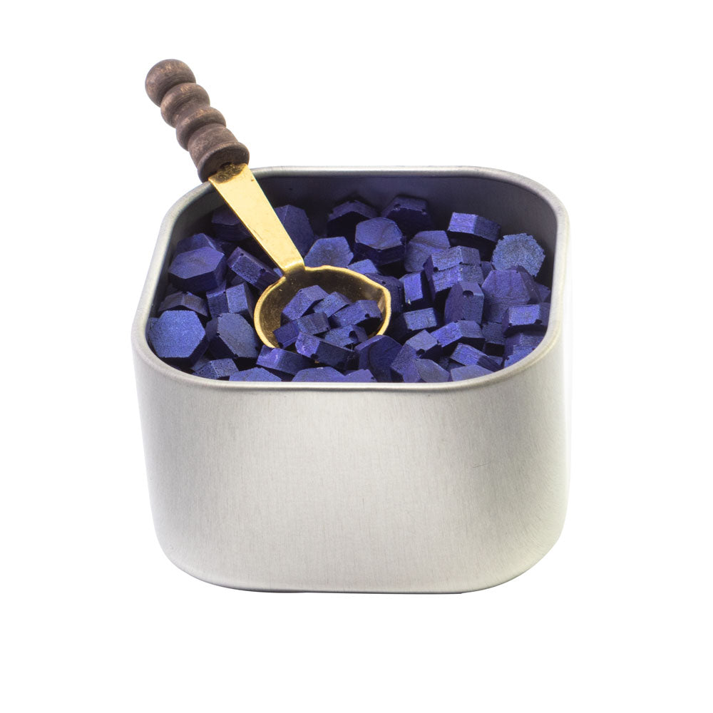 Freund Mayer Sealing Wax Beads in Tin with Spoon- Sapphire Blue