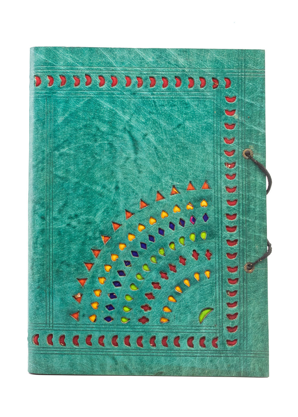 Studio Salvage Crafts Punch Leather Journal - Teal / Green