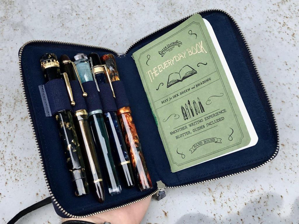 Galen Leather Co. Zippered 5 Slot Pen Case- Crazy Horse Navy Blue