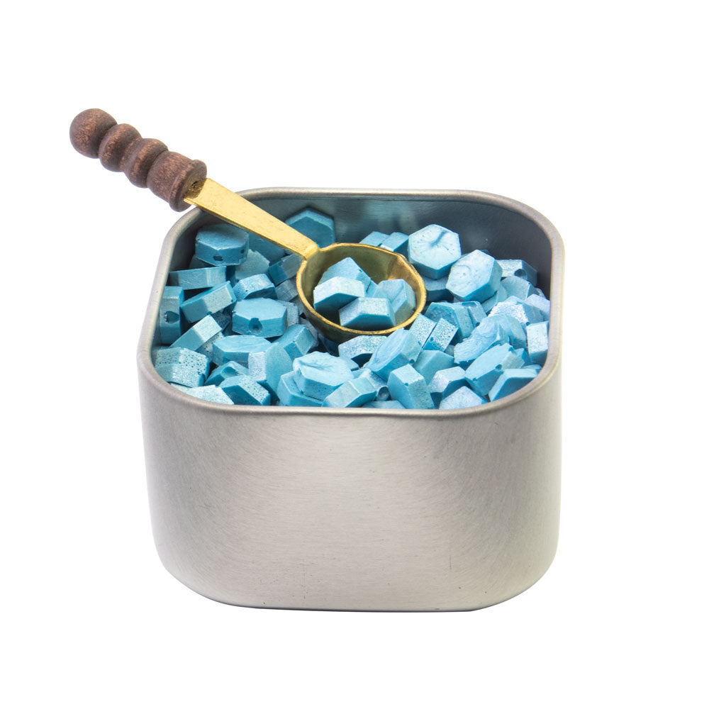 Freund Mayer Sealing Wax Beads in Tin with Spoon- Light Blue