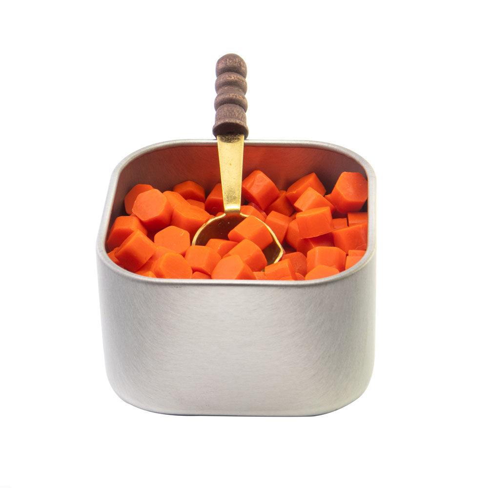 Freund Mayer Sealing Wax Beads in Tin with Spoon- Orange Flame