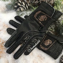 Load image into Gallery viewer, Samshield V-Skin Swarovski Black Rose Gold Gloves
